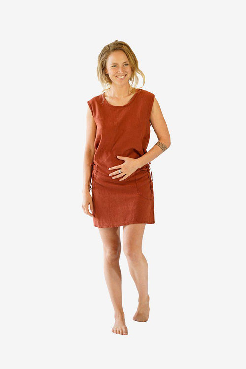 Two Pocket Cotton Dress-CLOTHING / DRESS-Choice Fashion (NEP)-Rust-The Outpost NZ