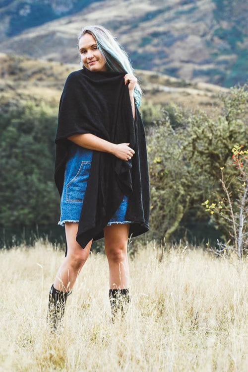 Waterfall Wrap Cardigan-CLOTHING / OUTERWEAR-Zeek (THA)-Black-The Outpost NZ