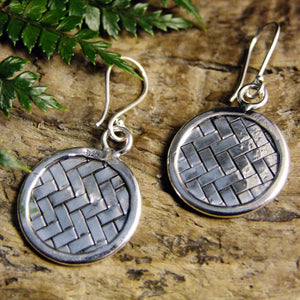 Weave Drop Silver Earrings-JEWELLERY / EARRINGS-Jewelery Center (THA)-Circle-The Outpost NZ