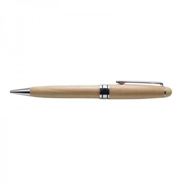 Wooden Pen Maple Mont Blanc Style Silver-NZ STATIONERY-Ocean Shell Studios (NZ)-The Outpost NZ