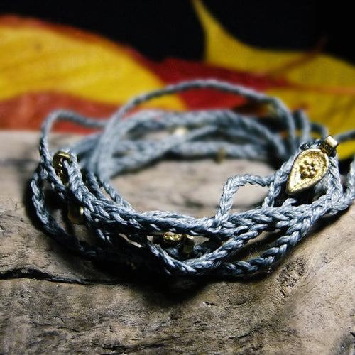 Wrap Bead Macrame Bracelet-JEWELLERY / BRACELET-Ganesh Macrame (IND)-Grey-The Outpost NZ