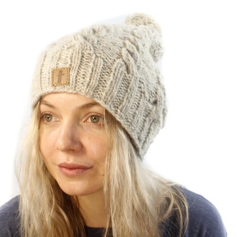 X Long Cable Beanie-ACCESSORIES / BEANIES-Sweater & Pashmina House (NEP)-Cream-The Outpost NZ