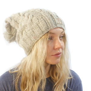 X Long Cable Beanie-ACCESSORIES / BEANIES-Sweater & Pashmina House (NEP)-Nat-The Outpost NZ