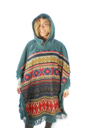 Zephyr Poncho-CLOTHING / PONCHO-Mt Fashion (NEP)-Motif-Teal-The Outpost NZ