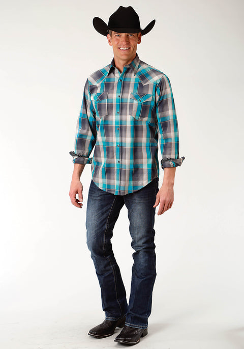 Roper Men's - West Made Collection Shirt Grey Plaid 01062148