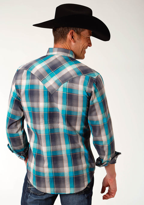 Roper Men's - West Made Collection Shirt Grey Plaid 01062148 back