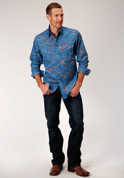 Roper Men's - West Made Collection Shirt Blue 03-001-0064-0341 BU full