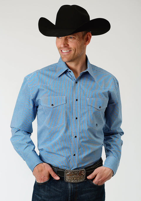 Roper Men's - Amarillio Collection Shirt Crystal Blue 01278015
