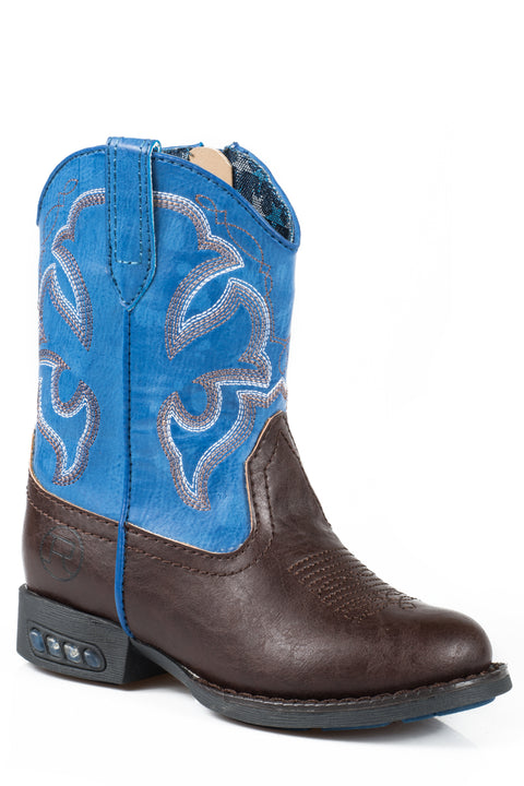 Roper Light up Toddler Boots Lightning Brown/Blue