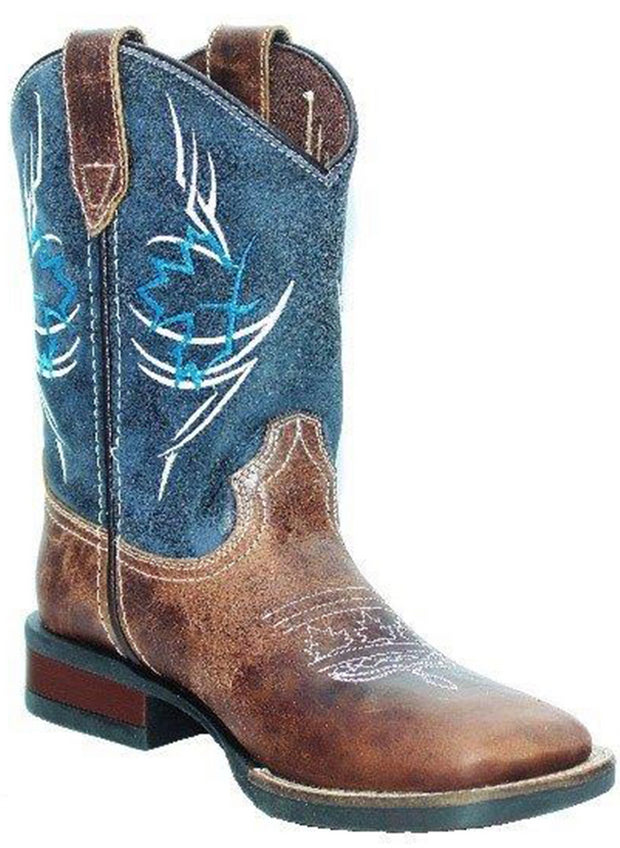 Roper Little Kids Boots Canadian Tribal Brown/Blue Leather 18911203
