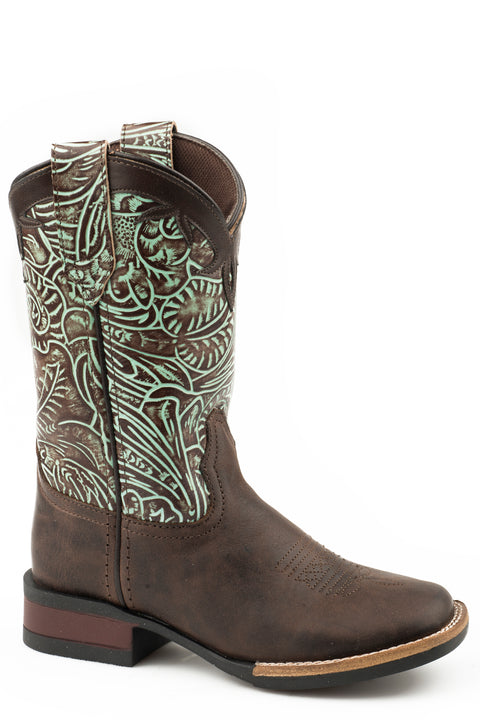 Roper Monterey Swirls - Little Kids - Chocolate / Turquoise Leather  18912568