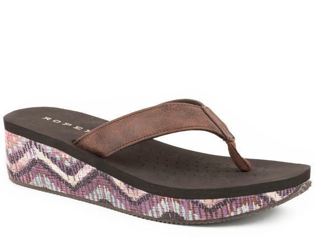 Sandal - Faux Rafia & Chevron Wrapped