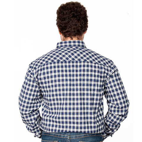Just Country - Men's - Cameron Flannel Workshirt- 1/2 Button Royal / White back