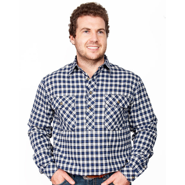 Just Country - Men's - Cameron Flannel  Workshirt- 1/2 Button Royal / White