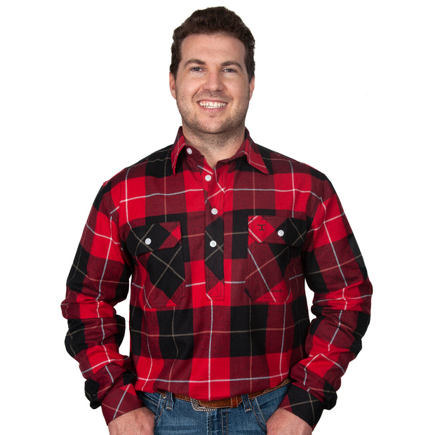 Just Country Men's - Cameron Flannel - 1/2 Button Red / Black