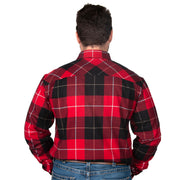 Just Country Men's - Cameron Flannel - 1/2 Button Red / Black back