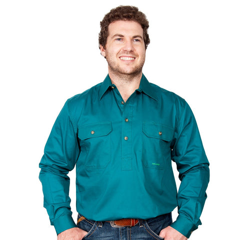Just Country Men's - Cameron - 1/2 Button Forest Green front