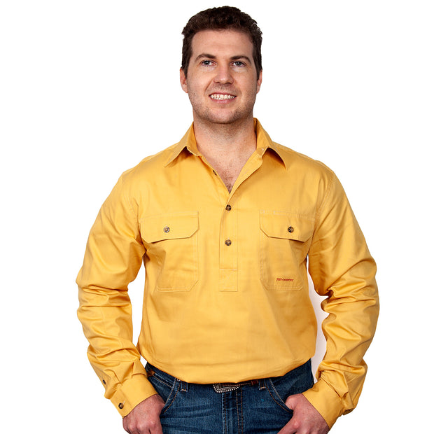 Just Country Australia Men's - Cameron - 1/2 Button Mustard 10101MUS