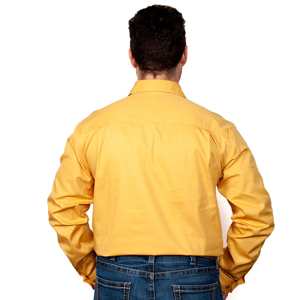 Just Country Australia Men's - Cameron - 1/2 Button Mustard 10101MUS back