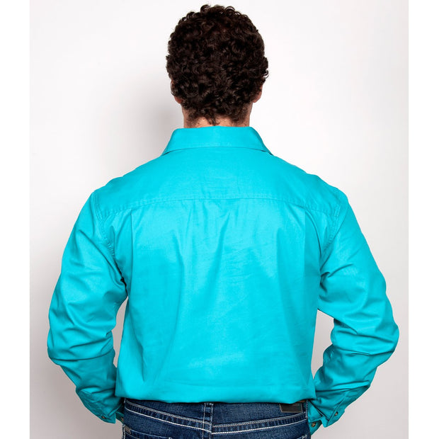 Just Country Workshirt Men's Cameron Turquoise 10101TUR back