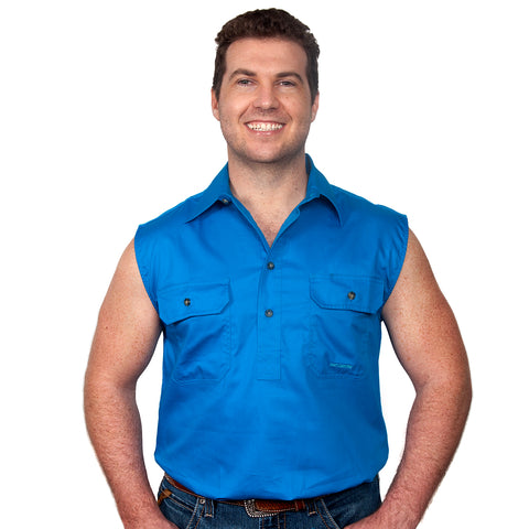 Just Country Men's - Jack - 1/2 Button Sleeveless Blue Jewel