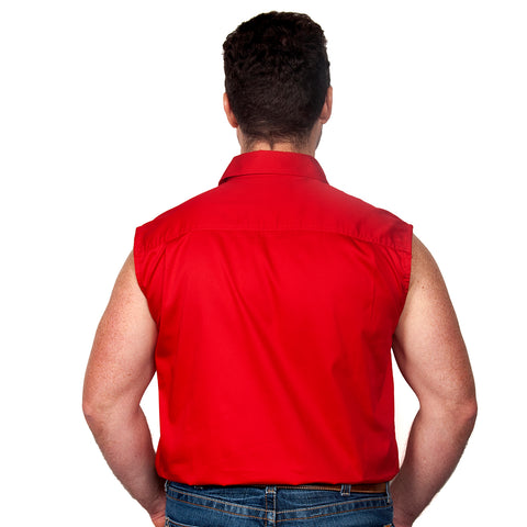 Just Country Men's - Jack - 1/2 Button Sleeveless Chilli back
