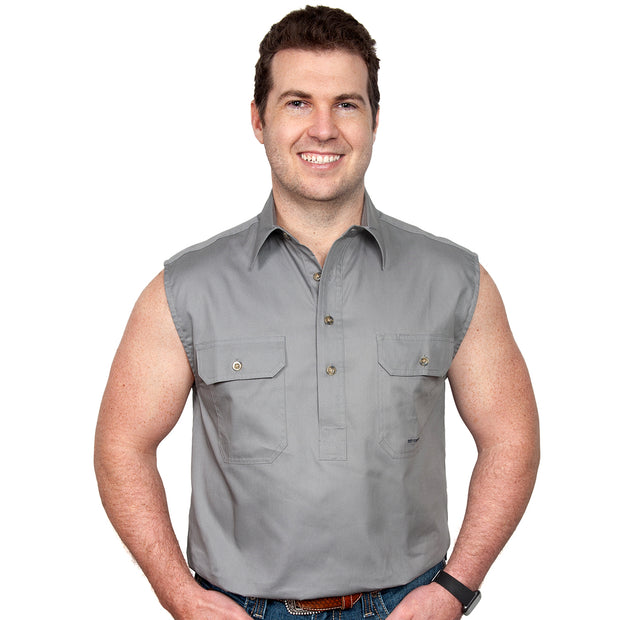Just Country Men's - Jack - 1/2 Button Sleeveless Steel Grey - 10103STG