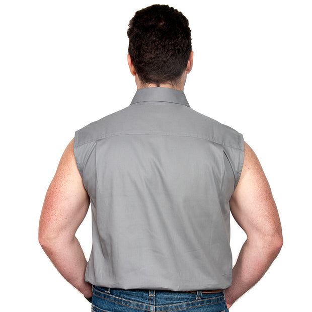 Just Country Men's - Jack - 1/2 Button Sleeveless Steel Grey - 10103STG back