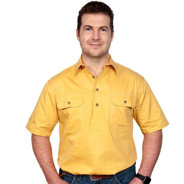 Just Country Men's - Adam - 1/2 Button Short Sleeve Mustard 10104MUS