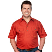 Just Country Men's - Adam - 1/2 Button Short Sleeve Rust 10104RST