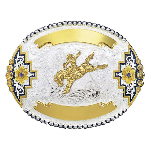 Montana Silversmiths Richland Trophy Buckle Bareback Bronc Sapphires