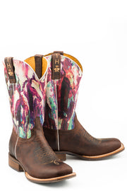 Tin Haul Women's Highbrow Horses - True Love Sole 14-021-0077-1403 BR painted horses shaft