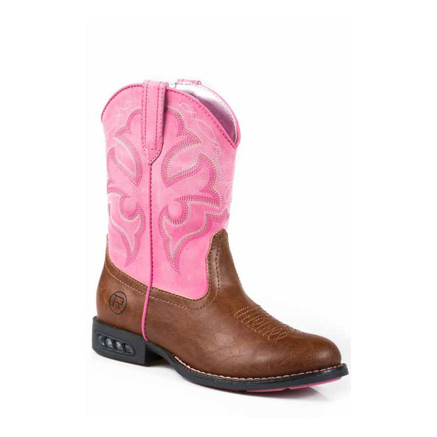 Roper Light up Kids Boots Lightning Tan/Pink