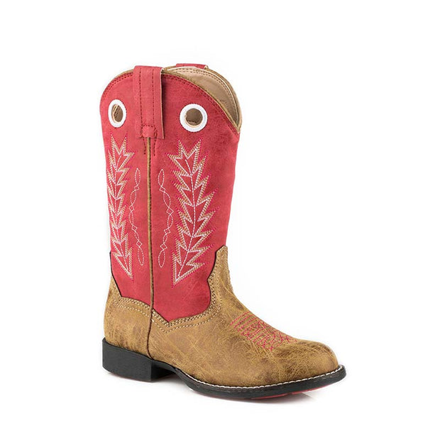 Roper Little Kids Boots Hole in the Wall Tan/Red