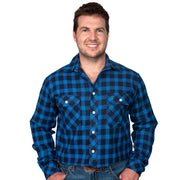 Just Country Men's - Evan Flannel - Full Button Blue / Black 20202213