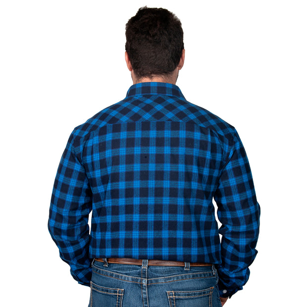 Just Country Men's - Evan Flannel - Full Button Blue / Black 20202213 back