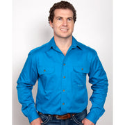 Just Country Workshirt Men's Evan Blue Jewel 20202BJL
