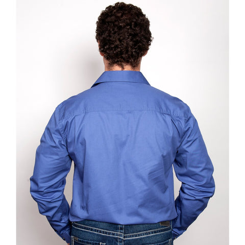 Just Country Workshirt Men's Evan Blue 20202BLU back