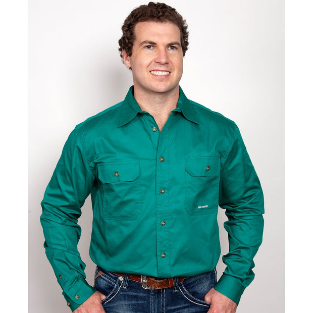 Just Country Workshirt Men's Evan Dark Green 20202DKG