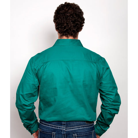 Just Country Workshirt Men's Evan Dark Green 20202DKG back