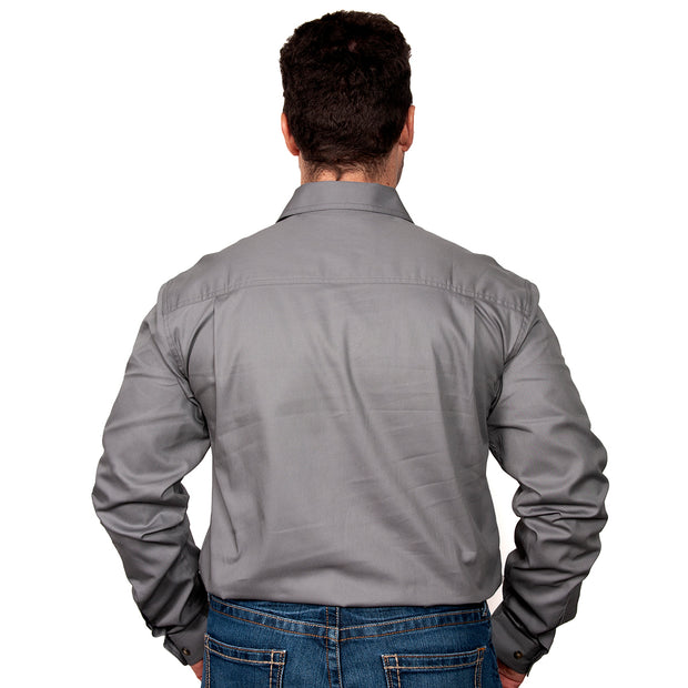 Just Country Men's - Evan - Full Button Steel Grey 20202STG back