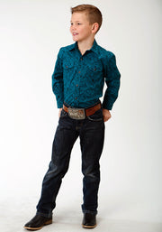Roper Boys - Amarillo Collection Shirt Blue Spruce 30225155 Full