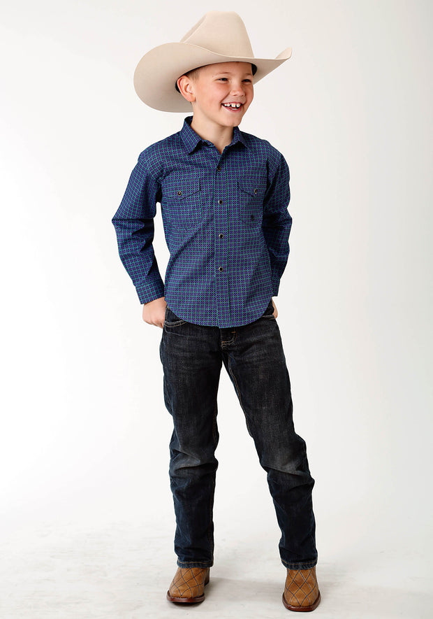 Roper Boys - Amarillo Collection Shirt Blue Spruce 30225157 Full