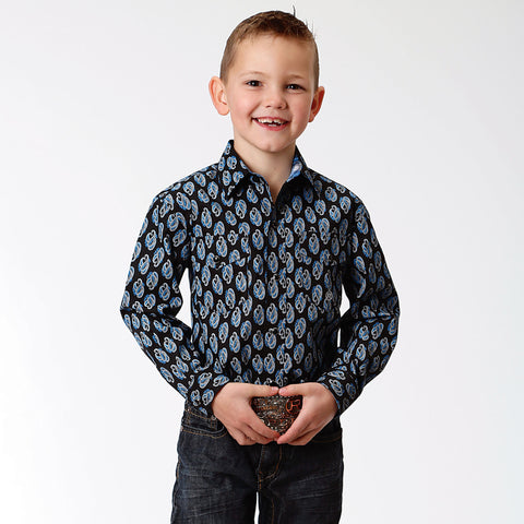 Roper Boy's - Amarillio Collection Shirt Crystal Blue 30225193