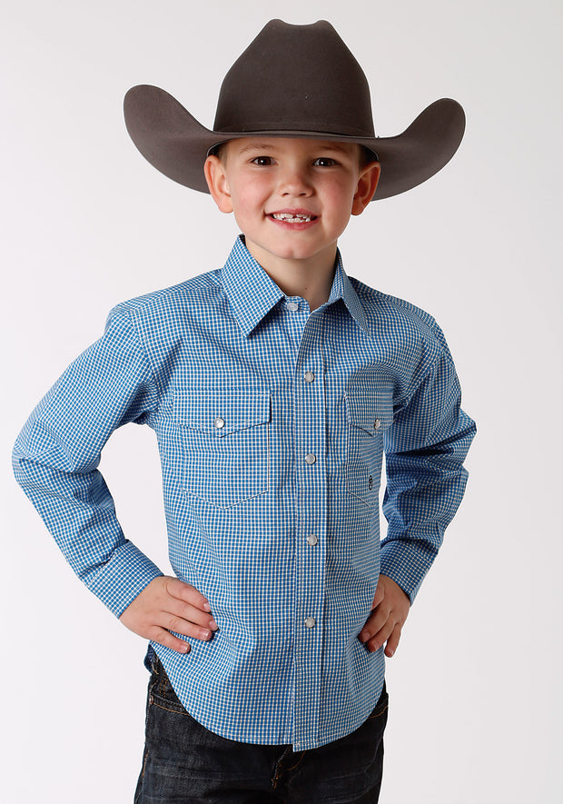 Roper Boy's - Amarillio Collection Shirt Crystal Blue 30278015