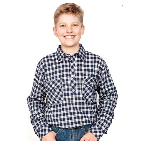 Just Country Boys - Lachlan Flannel - 1/2 Button Royal / White 30303001