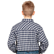 Just Country Boys - Lachlan Flannel - 1/2 Button Royal / White 30303001 back