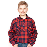 Just Country Boys - Lachlan Flannel - 1/2 Button Navy / Red 30303003