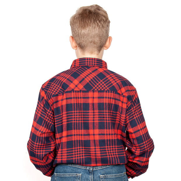 Just Country Boys - Lachlan Flannel - 1/2 Button Navy / Red 30303003 back