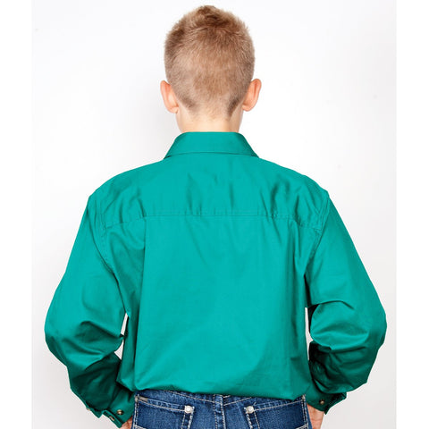 Just Country Workshirt Boy's Lachlan Dark Green 30303DKG back